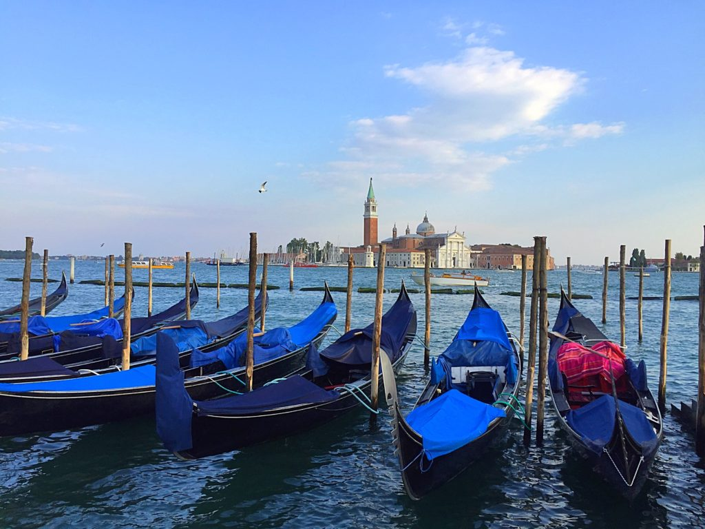 Venice boats and waterfront in Italy.